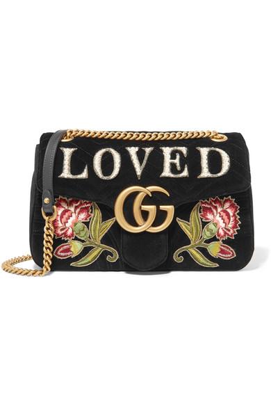 bef798e7 GG Marmont medium embroidered matelassé velvet shoulder bag