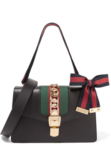 gucci female gucci sylvie small chainembellished leather shoulder bag black