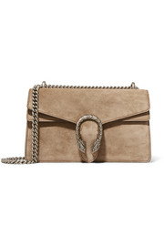 Dionysus small leather-trimmed suede shoulder bag