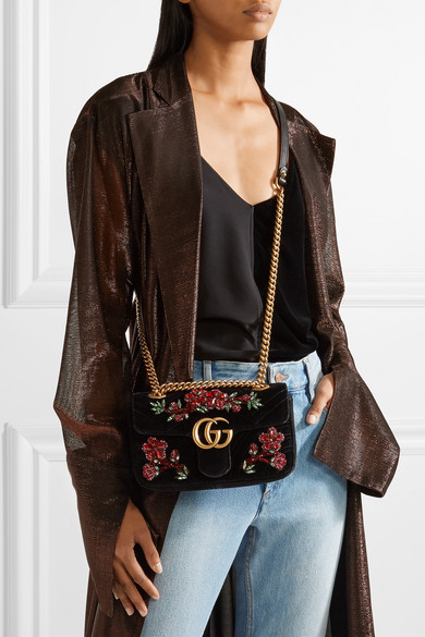 139a230990231a Gucci. GG Marmont small crystal-embellished velvet shoulder bag. £1,980.  Play