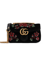 Gucci GG Marmont small crystal-embellished velvet shoulder bag