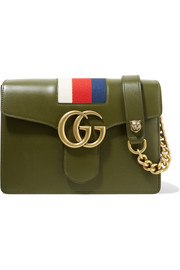 Gucci GG Marmont striped canvas-trimmed leather shoulder bag