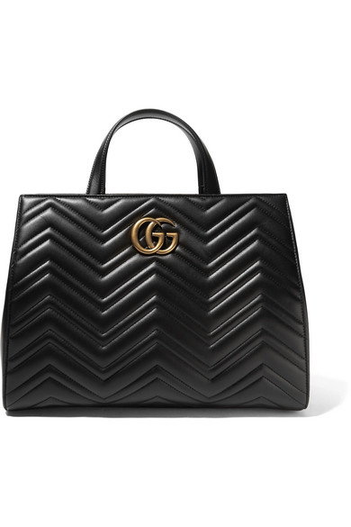 gucci female gucci gg marmont medium quilted leather tote black