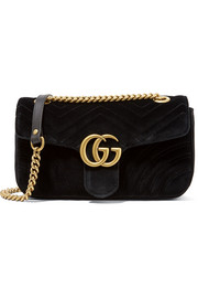 GG Marmont small velvet shoulder bag