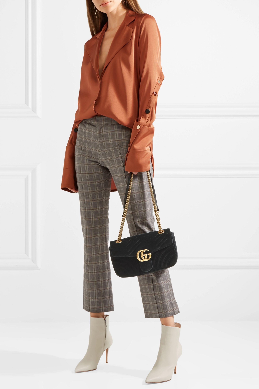 Gucci Sac porté épaule en velours GG Marmont Small
