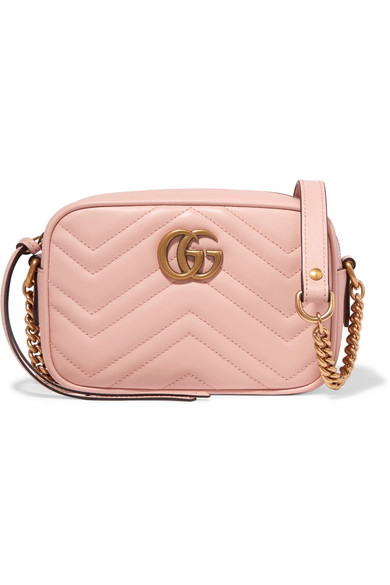 Gg Marmont Camera Mini Quilted Leather Shoulder Bag in Pink