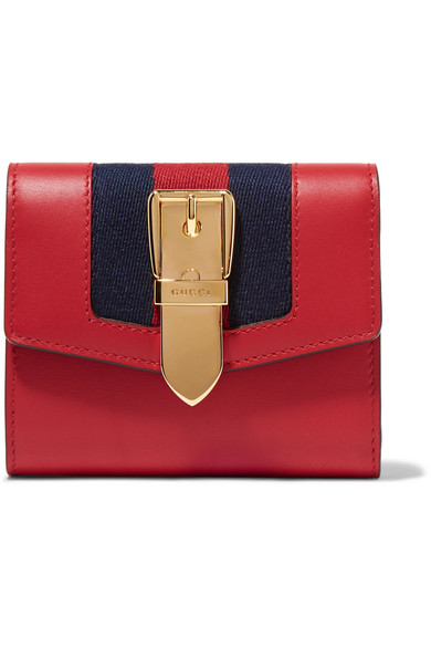 Gucci Sylvie Canvas-trimmed Leather Wallet In 6473 Rouge