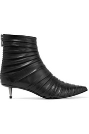 Ruched leather ankle boots