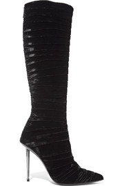 Ruched velvet knee-high boots