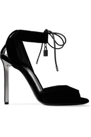 Leather-trimmed velvet sandals