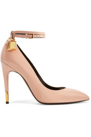 TOM FORD Padlock glossed-leather pumps