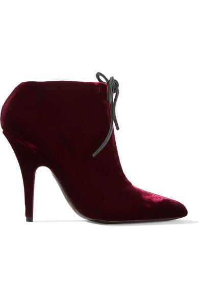 TOM FORD - Velvet Ankle Boots - Claret