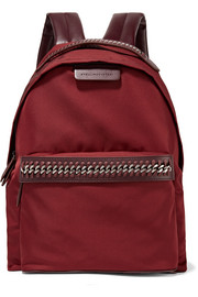 Falabella faux leather-trimmed shell backpack