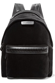Falabella GO faux leather-trimmed velvet backpack