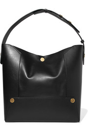 Popper faux leather tote