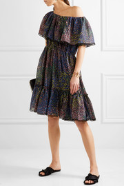 Firework off-the-shoulder printed cotton-blend mini dress
