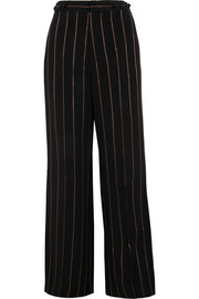 Metallic striped crepe wide-leg pants