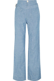 Chloé Cotton-chambray wide-leg pants