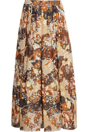 Printed fil coupé silk midi skirt