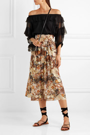 Chloé Printed fil coupé silk midi skirt