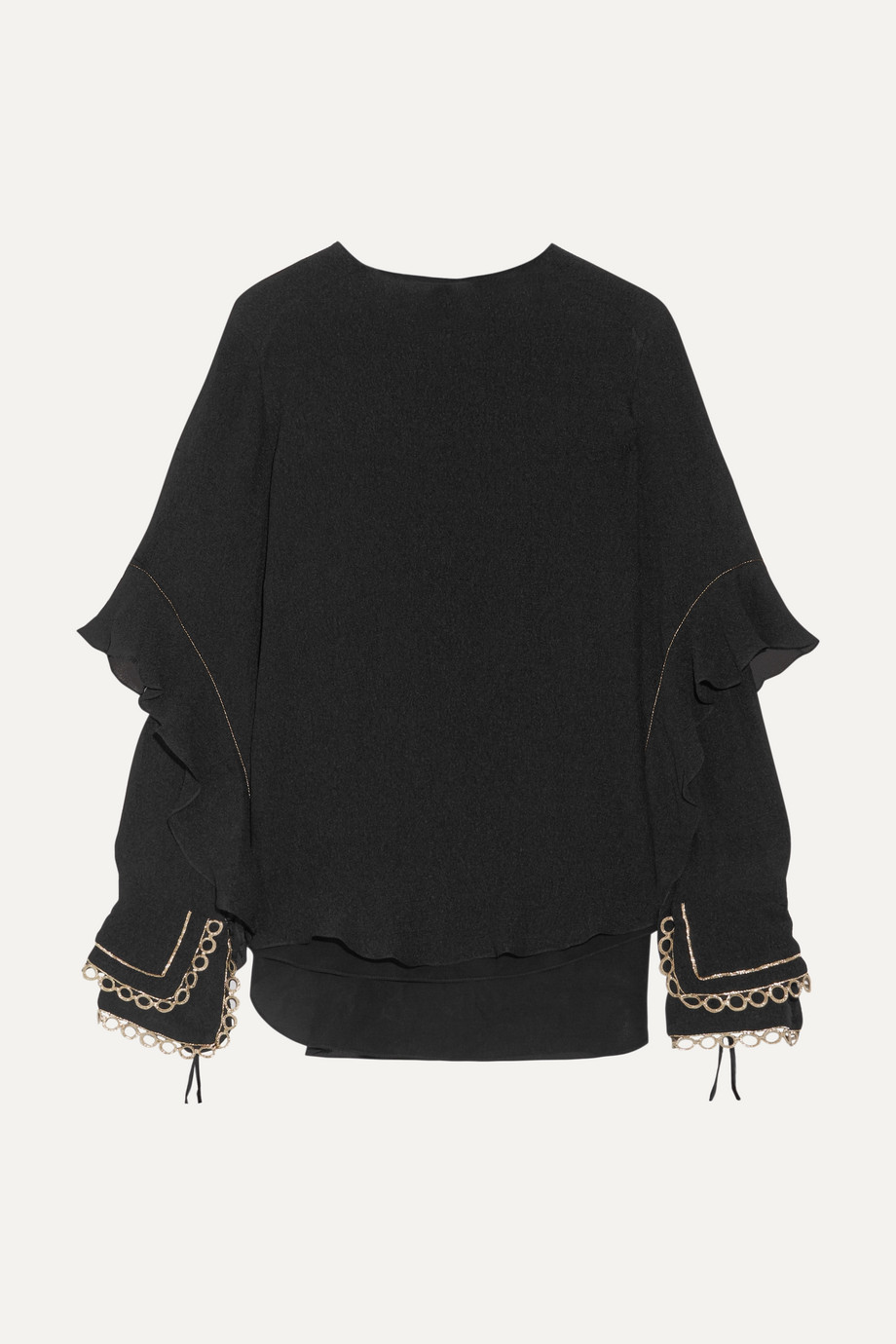 Chloé Ruffled metallic-trimmed silk-seersucker blouse