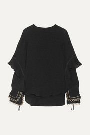 Ruffled metallic-trimmed silk-seersucker blouse