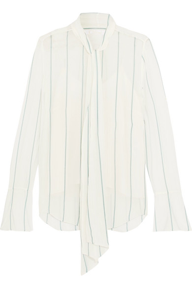 Chloé - Pussy-bow Pinstriped Silk-blend Georgette Blouse - Off-white