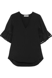 Embroidered silk crepe de chine top