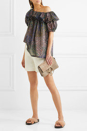 Chloé One-shoulder ruffled printed cotton-blend blouse