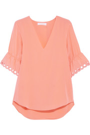 Chloé Embroidered silk crepe de chine top