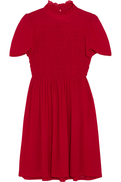 ALEXACHUNG - Ruffled Smocked Chiffon Mini Dress - Red