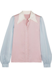 ALEXACHUNG Color-block satin shirt
