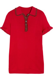 ALEXACHUNG Ruffle-trimmed ribbed stretch-knit polo shirt