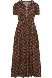 ALEXACHUNG Hooded floral-print crepe maxi dress