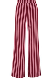 Striped crepe wide-leg pants