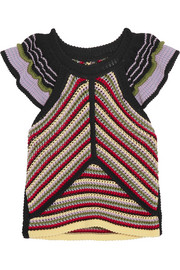 ALEXACHUNG Striped crochet-knit cotton-blend top