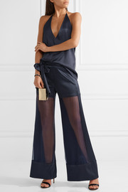 Haney Lola cloqué and silk-organza wide-leg pants