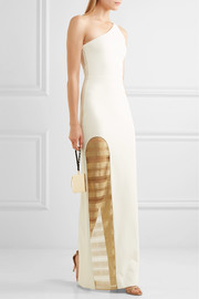 Haney Petraone one-shoulder stretch-ponte and metallic mesh gown