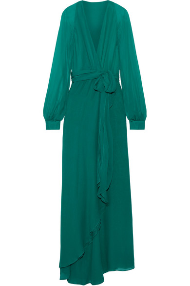 Haney - Coco Silk Wrap Maxi Dress - Teal