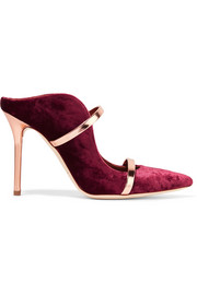 Maureen metallic leather-trimmed velvet mules