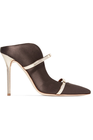 Malone Souliers - Maureen Metallic Leather-trimmed Satin Mules - Brown