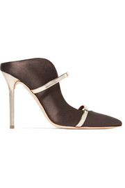 Malone Souliers Maureen metallic leather-trimmed satin mules