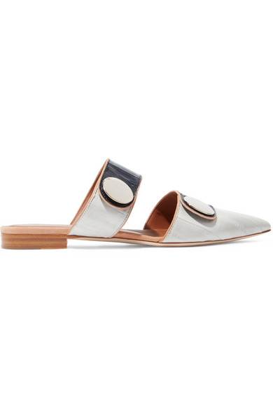 Malone Souliers - Roksanda Lee Eel-effect Glossed-leather Slippers - Gray