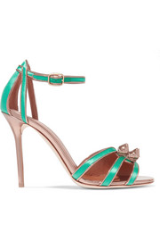 Eunice metallic leather-trimmed satin sandals
