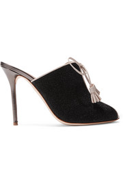 Dawn leather-trimmed Lurex mules