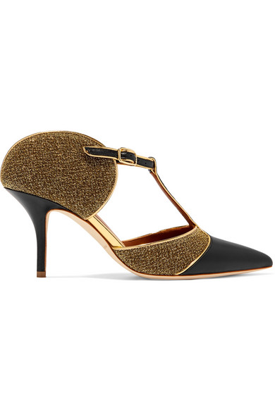 Malone Souliers - Imogen Metallic Mesh And Leather Pumps - Black