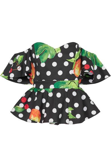 4405e6da37f927 Caroline Constas Irene Off-The-Shoulder Printed Cotton-Blend Poplin Top In  Black