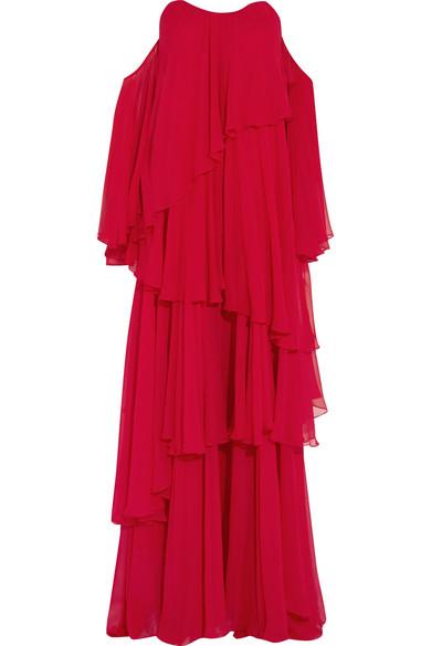 Caroline Constas - Cleopatra Off-the-shoulder Ruffled Silk-chiffon Gown - Red