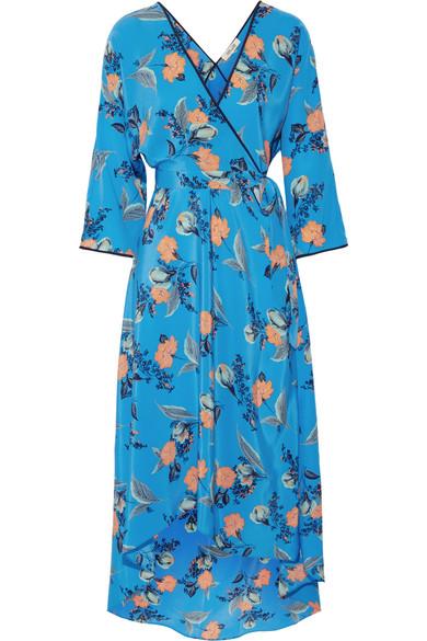 Diane von Furstenberg - Asymmetric Wrap-effect Floral-print Maxi Dress - Blue