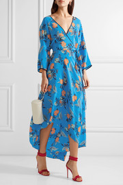 Asymmetric wrap-effect floral-print maxi dress